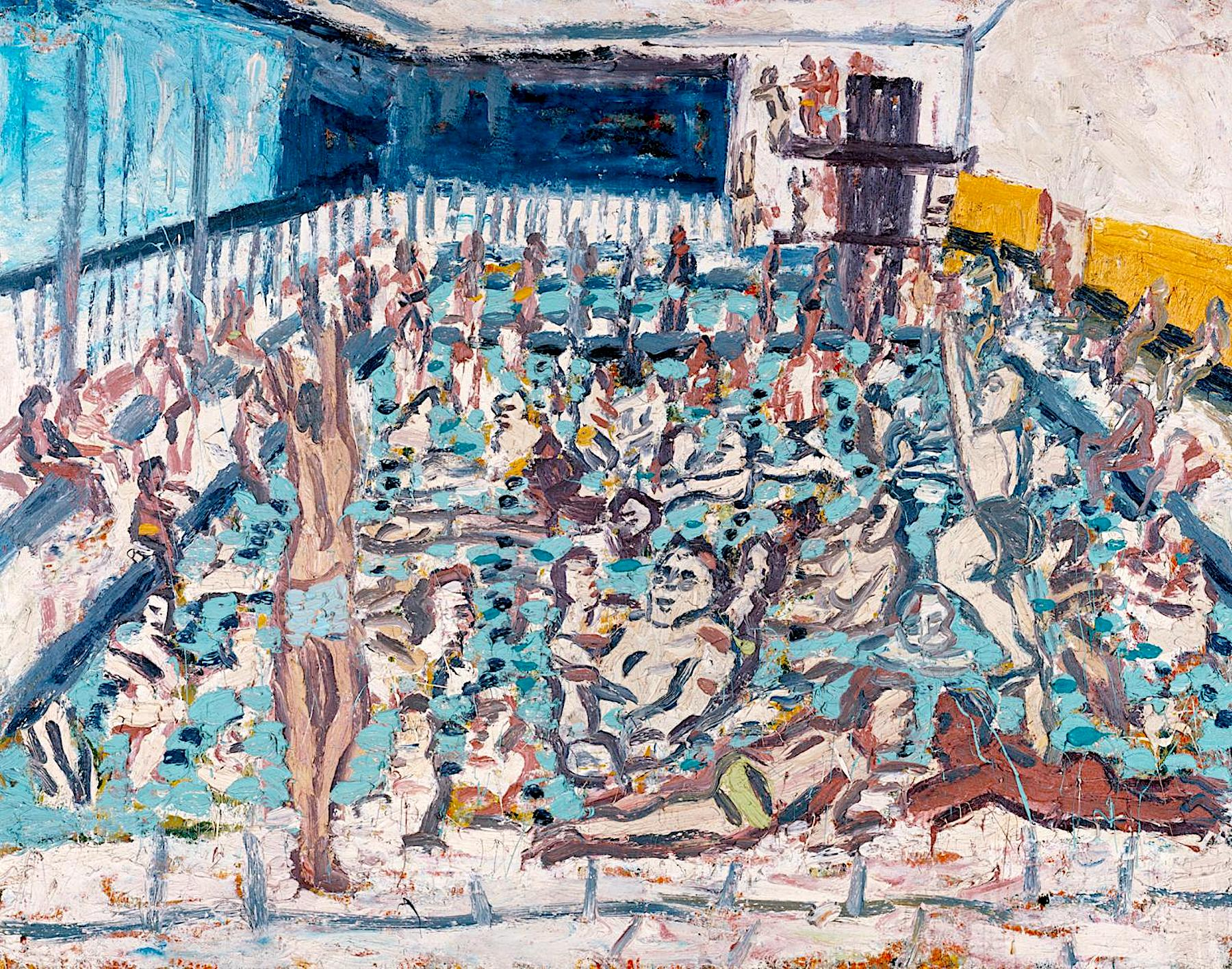 Children's Swimming Pool, Autumn Afternoon 1971 by Leon Kossoff born 1926