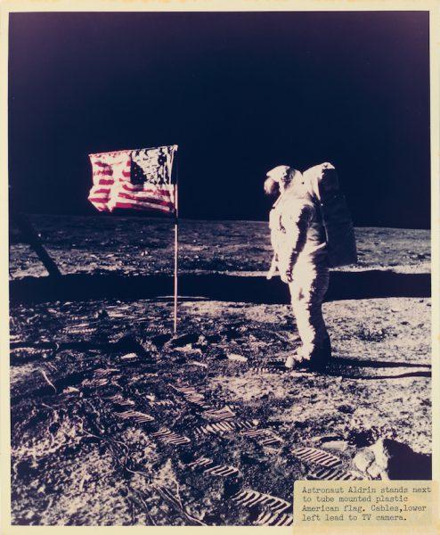 Neil Armstrong Surveys US Flag On Moon