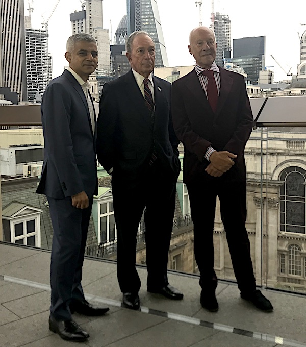 Bloomberg London Headquarters Launch Sadiq Khan - Michael Bloomberg - Lord Foster