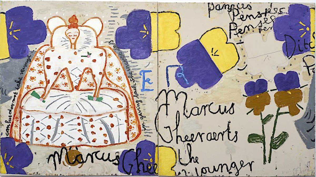 Rose Wylie, Queen with Pansies (Dots), 2016, Oil on canvas, 183 x 331 cm, Courtesy the artist, Photo: Soonhak Kwon