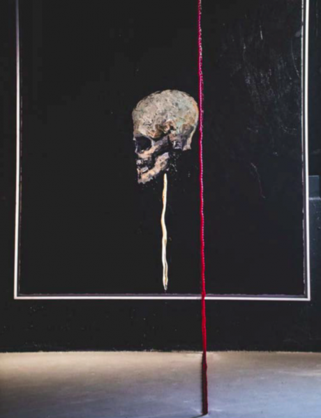 Alive and Expressing Loner, Oil on Canvas, Rope, Mixed Media