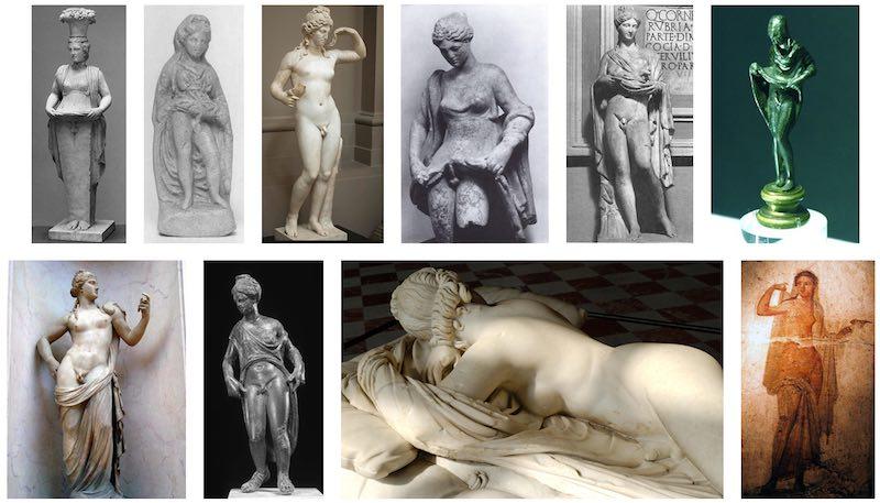 Roman deity sculptures