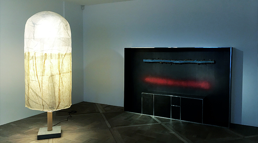 "(left) ""Japanese Rice Paper Lamp"" and ""Plank Cabinet 6"" by Andrea Branzi and (right) a selection from ""The graduate(s)"" European Design Talent show / Photo © Courtesy of ZOLTAN+"