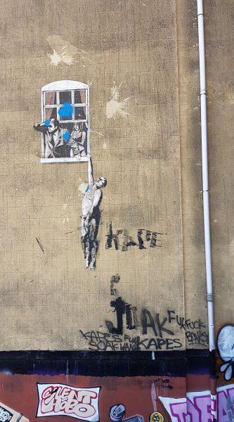 Banksy 'Well Hung Lover' Vandalised