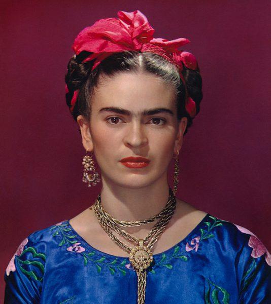 Frida Kahlo in blue satin blouse, 1939. Photograph Nickolas Muray © Nickolas Muray