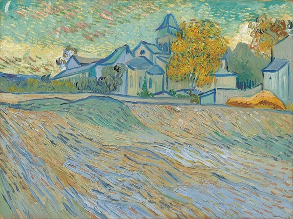 """Elizabeth Taylor's, Vue de l""""asile et de la Chapelle de Saint-Rémy, 1889, by Vincent Van Gogh"""