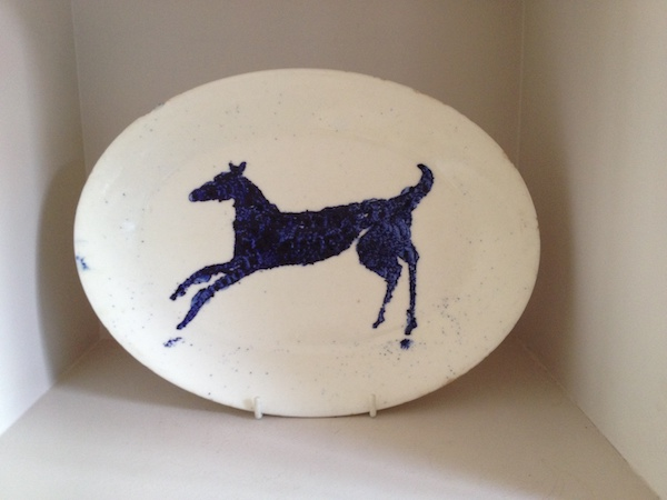 Early Grayson Perry Ceramic platter with lurcher type dog depicted 1990