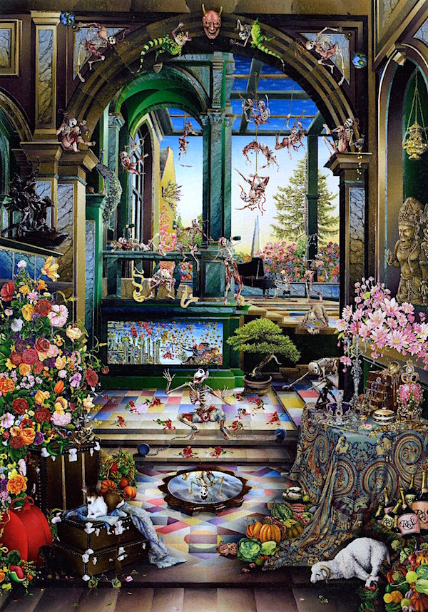 Raqib Shaw with a long title: Self Portrait in the Studio at Peckham (After Steenwyck the Younger II)
