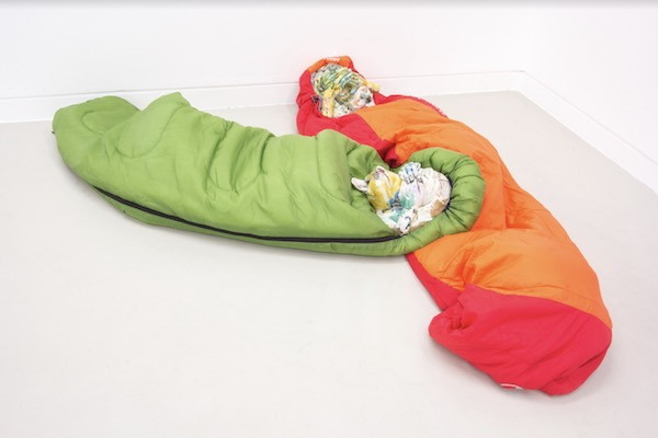 Kris Lemsalu Phantom Camp, 2012, Ceramics, sleeping bags. Dimensions variable