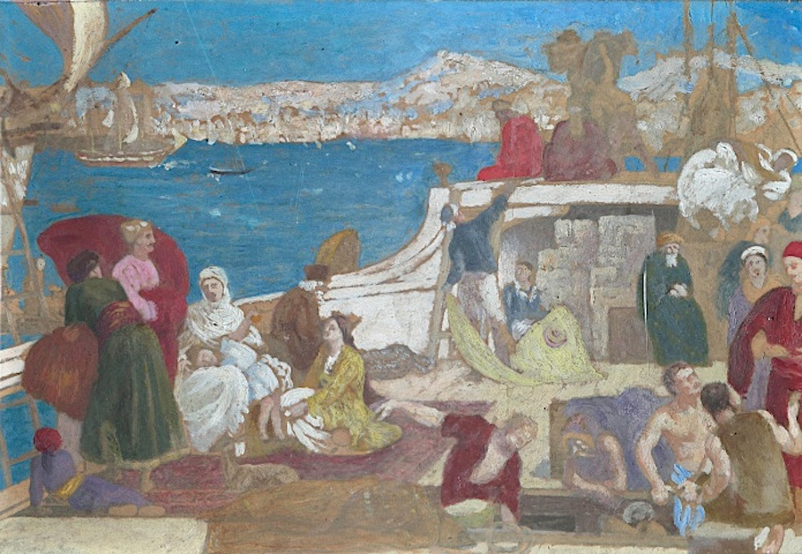 """Étude pour Marseille, Porte de l'Orient (Study for Marseille, Gateway to the Orient)"", ca. 1868-1870 Gouache on panel"