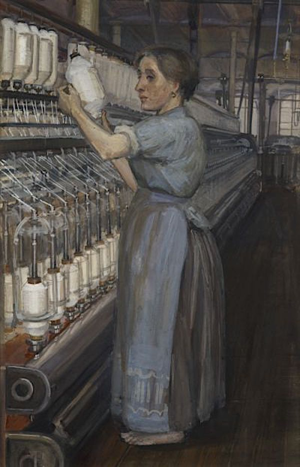 Image: Sylvia Pankhurst, In a Glasgow Cotton Spinning Mill: Changing the Bobbin 1907.
