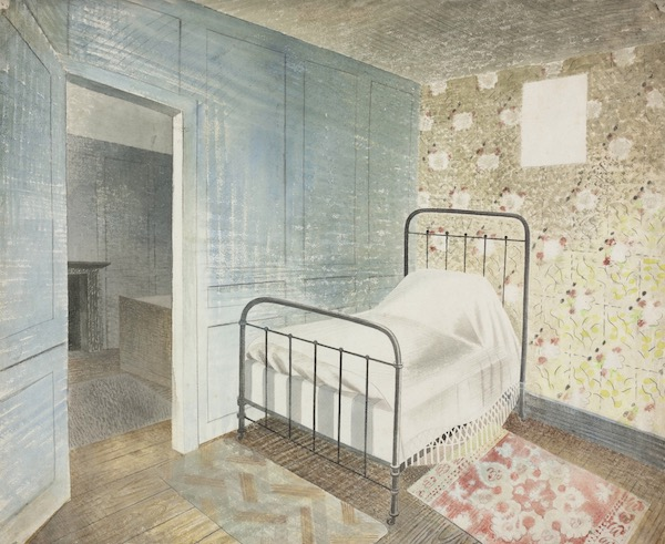 Eric Ravilious, The Bedstead, 1939. Towner Collection