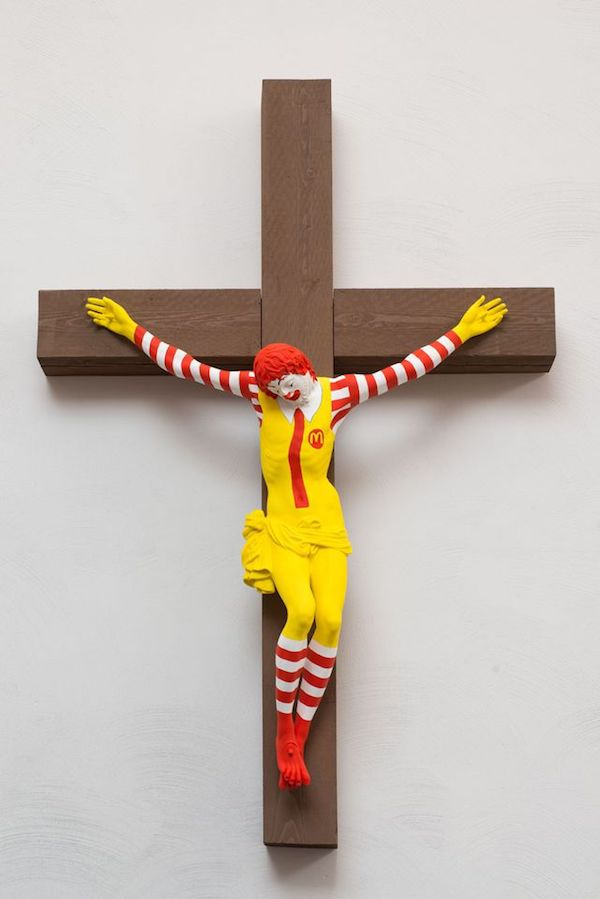 'McJesus' crucified Ronald Macdonald by Jani Leinonen.