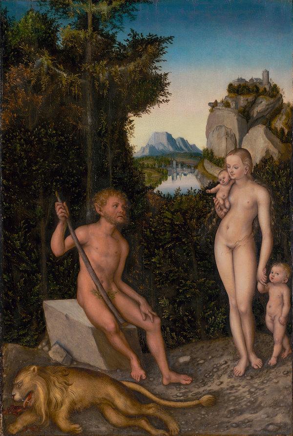 Lucas Cranach the Elder, A Faun and His Family with a Slain Lion, circa 1526. The Renaissance Nude