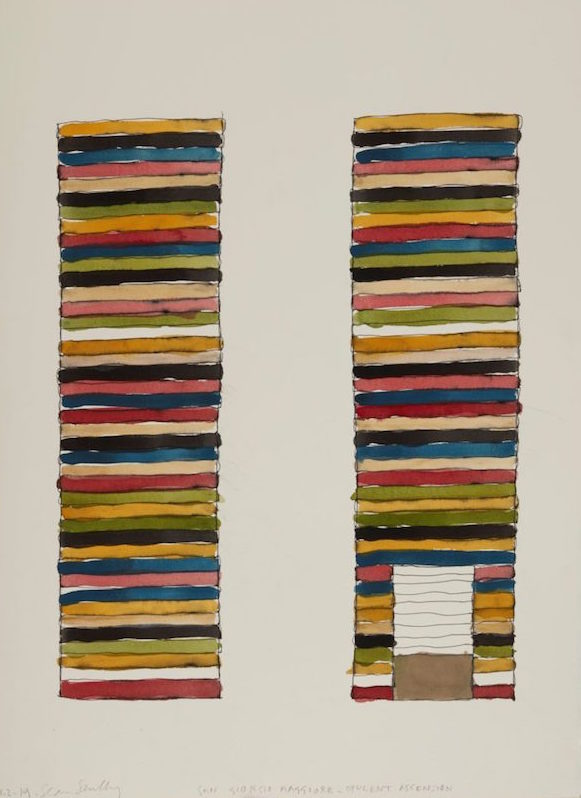 Sean Scully, watercolor for Opulent Ascension (2019)