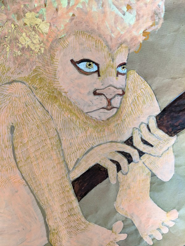 Jesse Darling Lion in wait for Saint Jerome and his medical kit, detail © Jesse Darling 2018