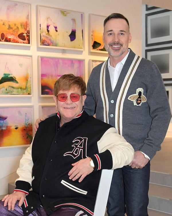Sir Elton John and David Furnish at home in their art gallerySir Elton John and David Furnish at home in their art gallery