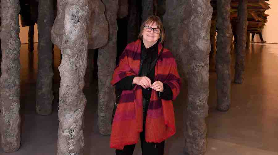 Phyllida Barlow with her installation Scree stage for The Hepworth Prize for Sculpture 2016Photo: PA – Press association