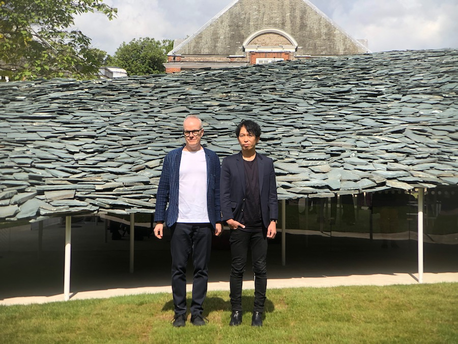 Junya Ishigami and the artistic director of the Serpentine Galleries Hans Ulrich Obrist.