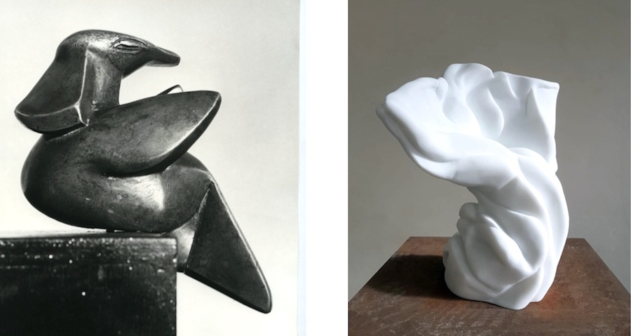 Left: Henry Moore, Bird, 1927 2019 Polished Bronze Archive Image Courtesy of Henry Moore Foundation Right: Richard Stone, the rapture (after Henry Moore), Statuario Marble Courtesy of the artist