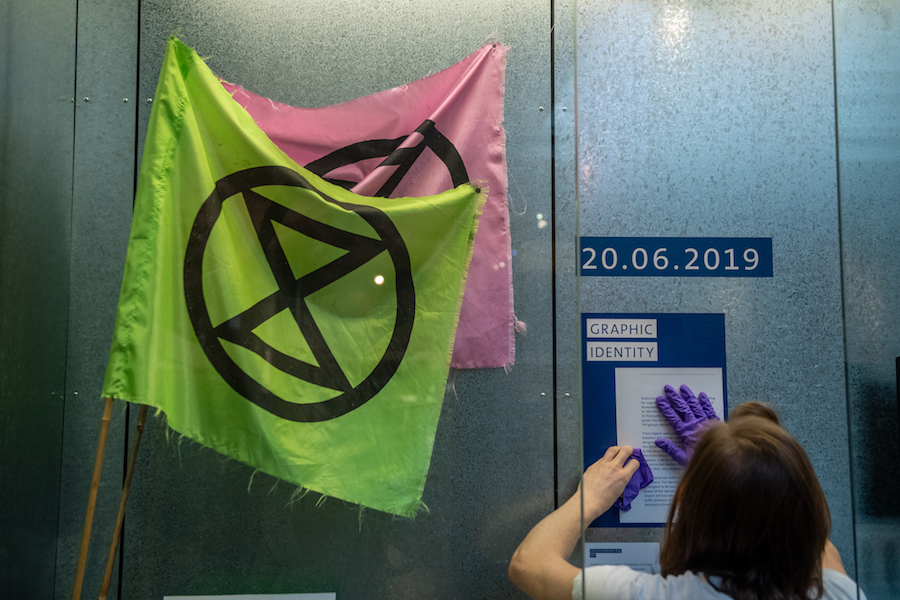 New Extinction Rebellion acquisitions go on display at the V&A. Photo by Chris J RatcliffeGetty Images for The V&A