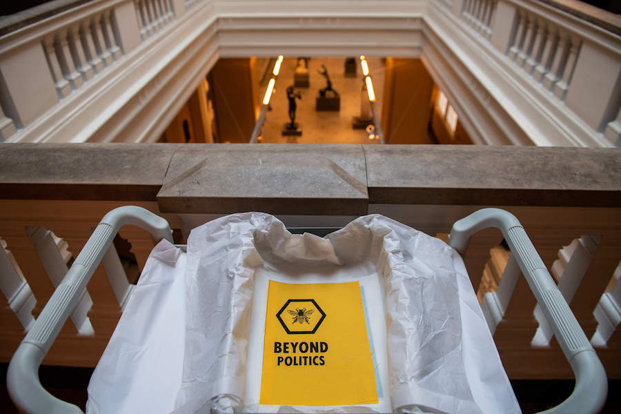 New Extinction Rebellion acquisitions go on display at the V&A. Photo by Chris J Ratcliffe Getty Images
