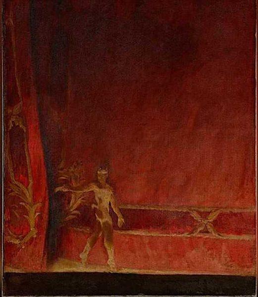 Vaslav Nijinsky taking a curtain call after a performance of 'L'Après-midi d'un faune'.