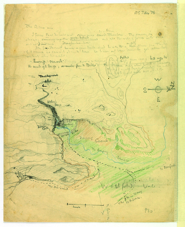 Image: J.R.R. Tolkien's map of Helm's Deep valley and the Hornburg fortress, © The Tolkien Estate Ltd 1976, 2015.