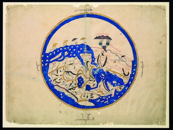 Image: Al Idrisi's world map, Bodleian Libraries, University of Oxford.