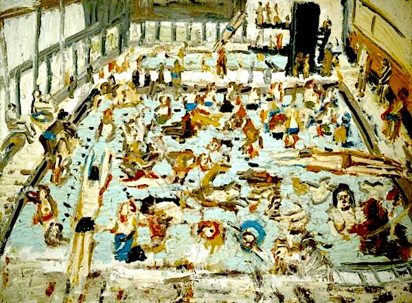 Leon Kossoff, Children's Swimming Pool, 11 o'clock Saturday Morning, August 1969,oil on board, 152 x 205 cm. Photo courtesy of The Lewis Collection, copyright the Leon Kossoff Estate