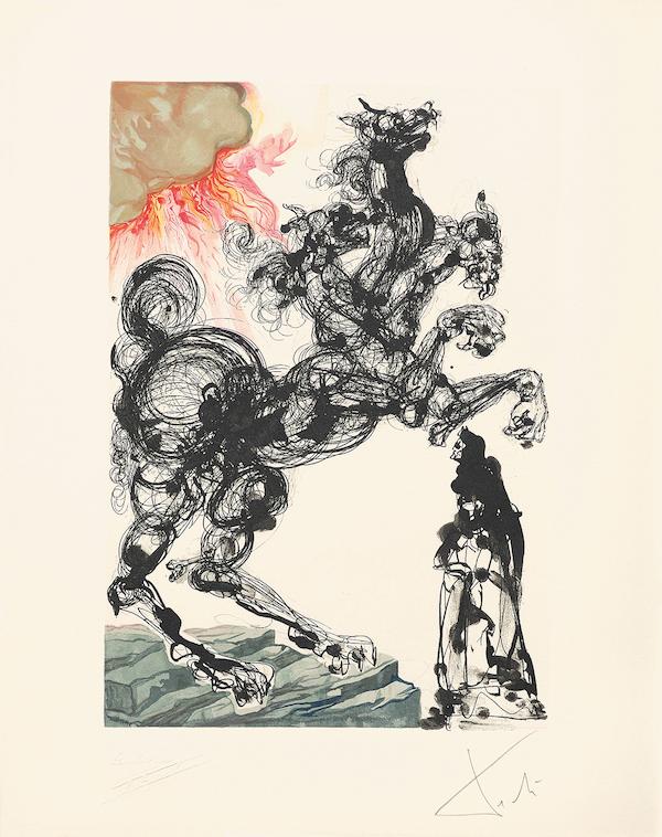 Salvador Dalí Inferno 6 = Salvador Dalí, The Divine Comedy, Inferno Cerberus, 1960, wood engraving