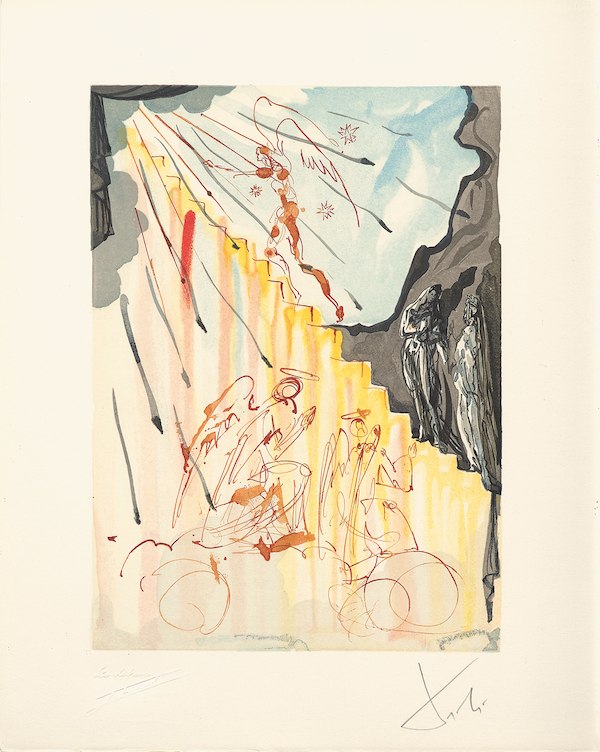 Paradise 21 = Salvador Dalí Divine Comedy, Paradise The Mystical Ladder, 1960, wood engraving