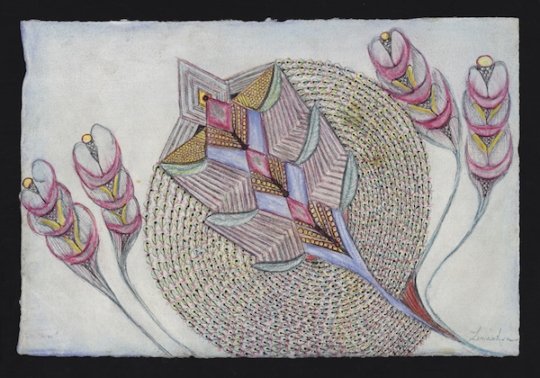 Anna Zemánková untitled, undated ballpoint pen, coloured pencil, ink, painting and embossing on paper 20 x 30 cm. Collection De L'Art Brut Lausanne
