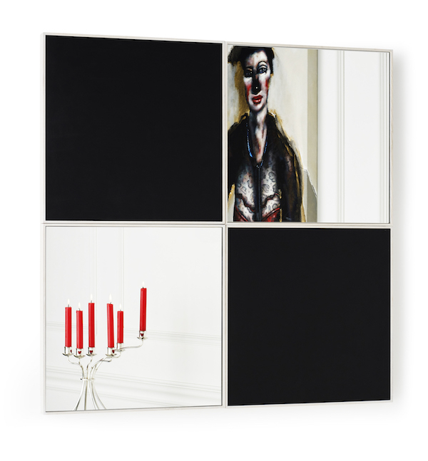 Woman with Curious Hairdo by Chris Gollon, Candelabra by Paul Hatton, reflected in Four Squares (after Malevich) by Possible Mirror