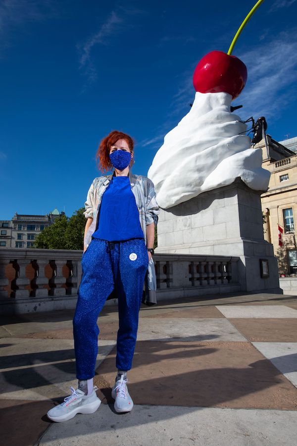 The artist Heather Phillipson quietly unveiled her fourth plinth commission in Trafalgar Square, yesterday with a lack of fanfare not seen before in past unveilings.