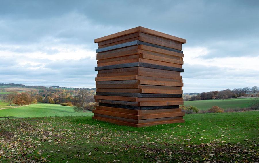 Sean Scully, Moor Shadow Stack, 2018. Corten Steel, 4.6 by 3.7 by 3.7 m (15 by 12 by 12 feet). Courtesy of the artist and Villa Waldfrieden, Waldfrieden Sculpture Park, Wuppertal, Germany.