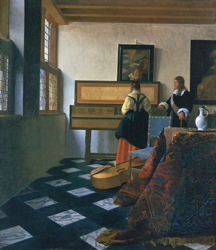 JOHANNES VERMEER (DELFT 1632-DELFT 1675) Lady at the Virginals with a Gentleman early 1660s