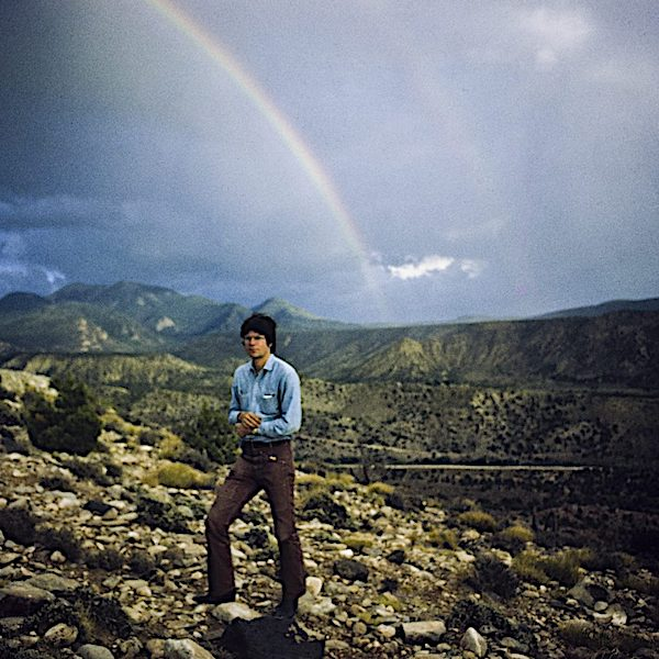 Nancy Holt Robert Smithson with Rainbow, August 1971 at Arches National Park, Utah. © Holt/Smithson Foundation, licensed by VAGA at ARS, New York.
