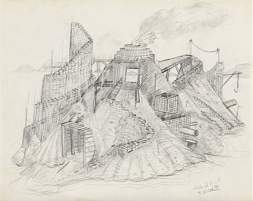 Robert Smithson Island Project, 1970 Pencil on paper 19 x 24 in. (48.3 x 61 cm) (23944/M) ©Holt/Smithson Foundation, Licensed by VAGA at ARS, New York Courtesy the artist and Marian Goodman Gallery New York, Paris and London