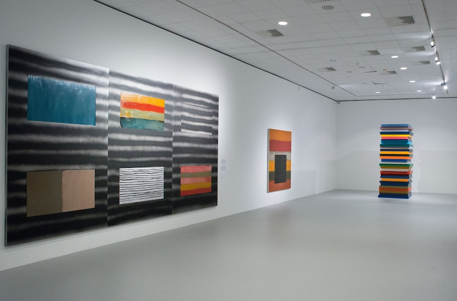"""Installation view of the gallery titled """"Uninsideout"""" at """"Sean Scully: Passenger—A Retrospective"""". Courtesy of the artist and the Museum of Fine Arts—Hungarian National Gallery, Budapest, Hungary. Photograph by Vince Soltész."""