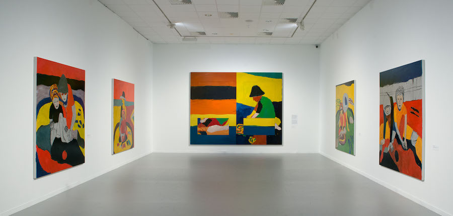 """Installation view of the gallery titled """"Figure Abstract and Vice Versa"""" at """"Sean Scully: Passenger—A Retrospective"""". Courtesy of the artist and the Museum of Fine Arts—Hungarian National Gallery, Budapest, Hungary. Photograph by Vince Soltész."""