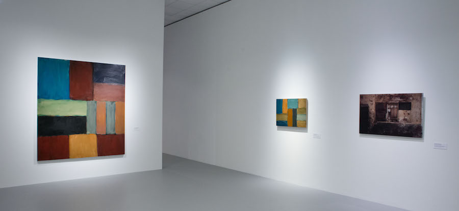 """Installation view of the gallery titled """"Architecture of Light"""" that includes """"Barcelona Dark Wall"""", chromogenic print mounted on Alu-Dibond behind Plexiglass, 28 by 42 inches. At """"Sean Scully: Passenger—A Retrospective"""". Courtesy of the artist and the Museum of Fine Arts—Hungarian National Gallery, Budapest, Hungary. Photograph by Vince Soltész."""