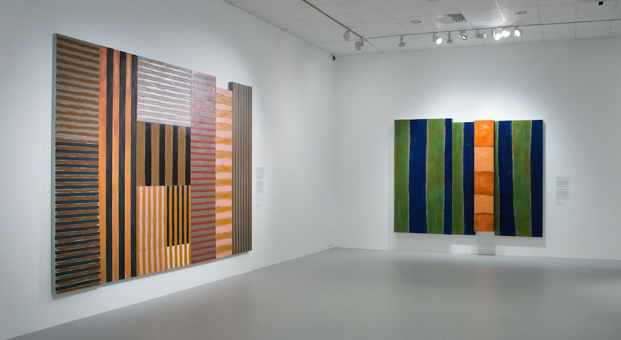 """Installation view of the gallery titled """"Hidden Narratives"""" at """"Sean Scully: Passenger—A Retrospective"""". Courtesy of the artist and the Museum of Fine Arts—Hungarian National Gallery, Budapest, Hungary. Photograph by Vince Soltész."""