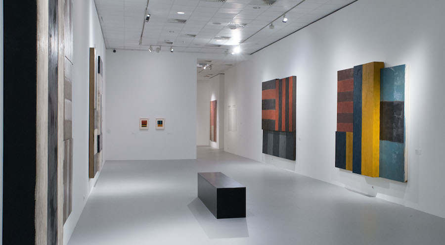 """Installation view of the gallery titled """"Sensual Constructions"""" at """"Sean Scully: Passenger—A Retrospective"""". Courtesy of the artist and the Museum of Fine Arts—Hungarian National Gallery, Budapest, Hungary. Photograph by Vince Soltész."""