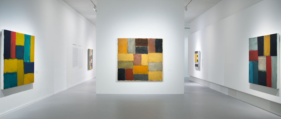 """Installation view of the gallery titled """"In Dialogue #2"""" at """"Sean Scully: Passenger—A Retrospective"""". Courtesy of the artist and the Museum of Fine Arts—Hungarian National Gallery, Budapest, Hungary. Photograph by Vince Soltész."""