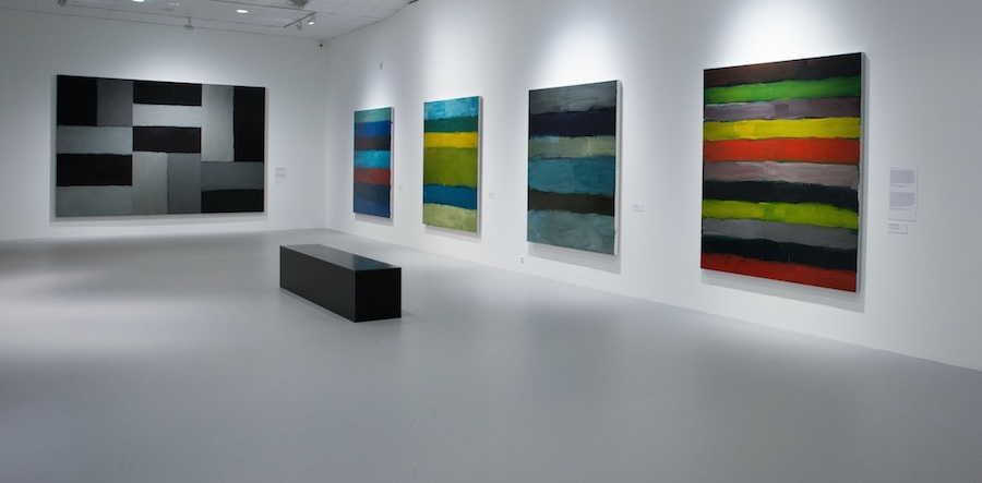 """Installation view of the gallery titled """"Architecture of Light"""" at """"Sean Scully: Passenger—A Retrospective"""". Courtesy of the artist and the Museum of Fine Arts—Hungarian National Gallery, Budapest, Hungary. Photograph by Vince Soltész."""