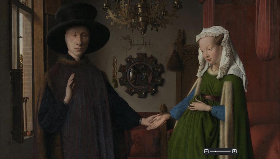 Jan van Eyck, Portrait of Giovanni(?) Arnolfini and his Wife (The Arnolfini Portrait), 1434, Oil on oak © The National Gallery, London.
