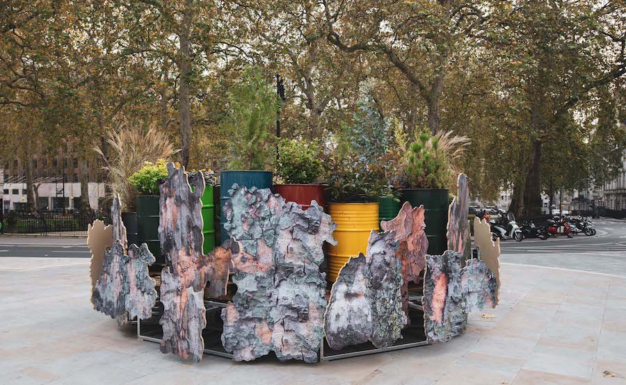 Rachael Champion, Temporary Retention Site for Atmospheric Particles, 2020, Berkeley Square. Commissioned by Grosvenor Britain & Ireland, curated by Modus Operandi. Image credit: John Hooper.