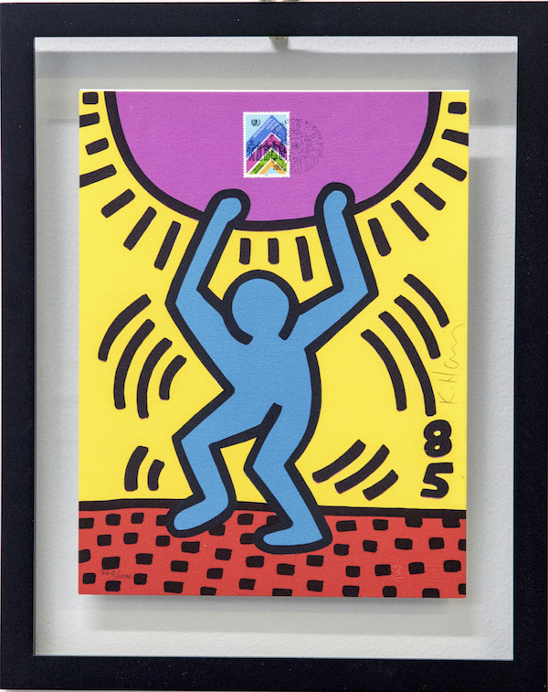 """Keith Haring, Lithograph to Accompany The United Nations Stamp: """"International Youth Year"""", edition 362/1000, 1984, Private Collection, Keith Haring artwork copyright ️ Keith Haring Foundation"""