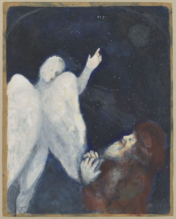 Marc Chagall, Noé reçoit l'ordre de construire l'Arche, 1931. Gouache, étude préparatoire pour les gravures de la Bible, 58 x 42,5 cm, musée national Marc Chagall © Adagp, Paris 2020. Photographie © RMN-Grand Palais (musée Marc Chagall) / Adrien Didierjean